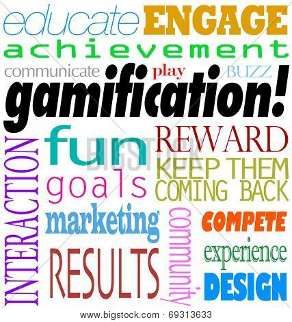 Gamification word background including educate, engage, acheivement, interaction, fun, goal, marketing, results, rewards and keep them coming back