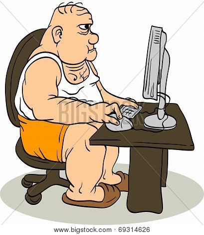 Fat Man At The Computer