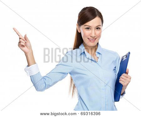 Asian businesswoman hold clipboard finger up