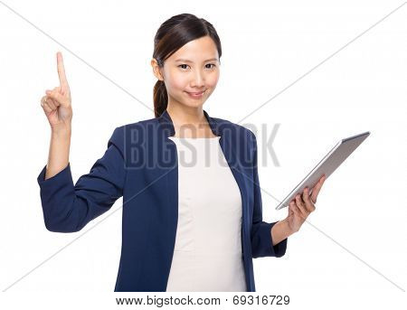 Woman finger up with tablet
