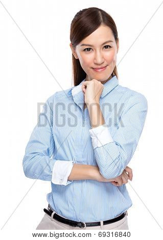 Asian businesswoman rest chin on hand