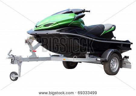 Green Hydrocycle On The Automobile Trailer