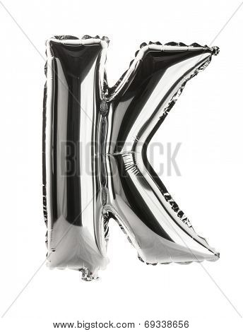 Chrome silver balloon font part of full set upper case letters, K
