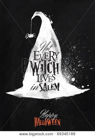 Witch hat halloween poster chalk