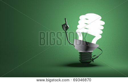 Spiral Light Bulb Character In Moment Of Insight