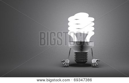 Discouraged Spiral Light Bulb Character