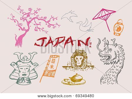 Japan Doodle Collection 1. Vector illustration