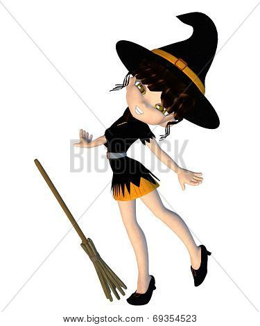Digitally rendered image of a cute cartoon witch with broom. poster