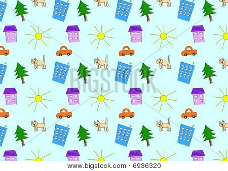 Seamless wallpaper with houses, car, sun and cat for kids poster