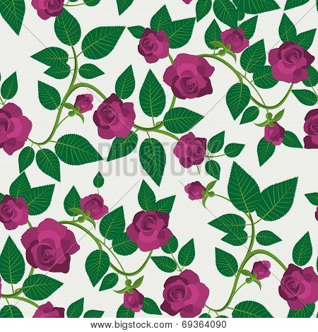 Crimson Roses Seamless Pattern