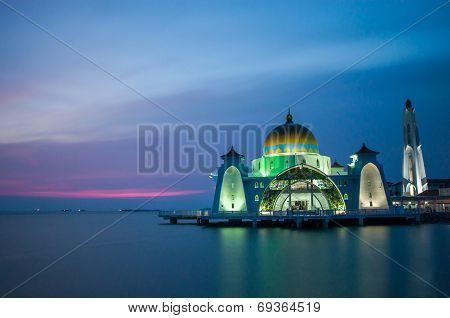Strait mosque during blue hour