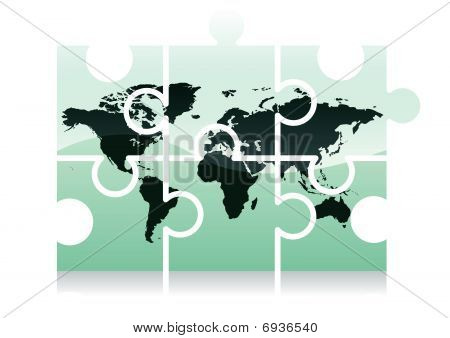 World map puzzle icon