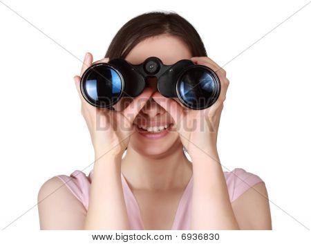 Woman Holdign Binoculars