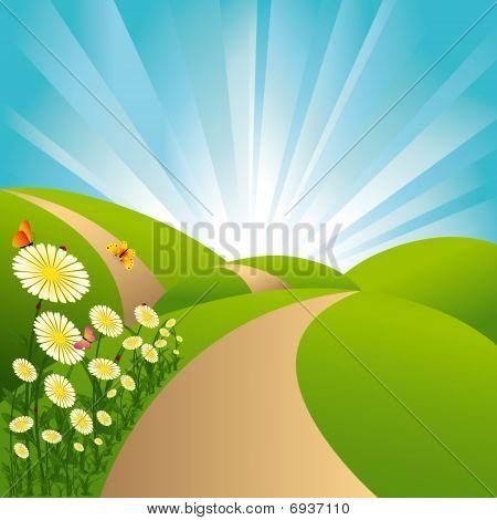 Spring landscape green fields blue sky flowers butterflies