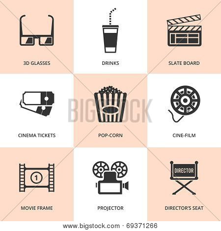 Set of black cinema icons.