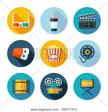 Set of flat cinema and movie icons.