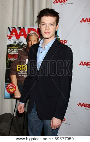 LOS ANGELES - AUG 1:  Cameron Monaghan at the AARP Luncheon IHO Jeff Bridges at the Spago on August 1, 2014 in Beverly Hills, CA