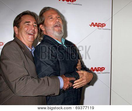 LOS ANGELES - AUG 1:  Beau Bridges (Brown suit), Jeff Bridges at the AARP Luncheon IHO Jeff Bridges at the Spago on August 1, 2014 in Beverly Hills, CA