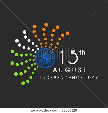 15th of August, Indian Independence Day celebrations with Asoka Wheel and abstract dots in national tricolors on grey background.