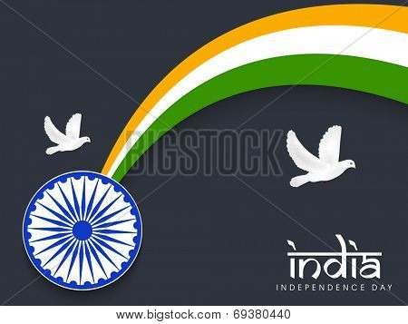 Indian Independence Day celebrations concept with Asoka Wheel, Flying Pigeons and wave in national tricolors on grey background for 15th of August, Independence Day celebrations.