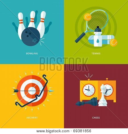 Set of flat design concept icons for sports kinds.