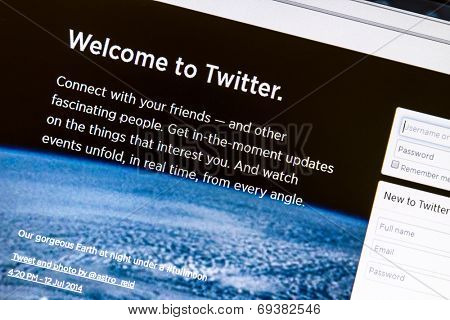 Ostersund, Sweden - August 2, 2014: Twitter website on a computer screen. Twitter is a free social networking and microblogging service