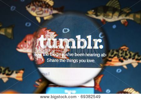 Ostersund, Sweden - August 2, 2014: Close up of tumblr website under a magnifying glass.Tumblr is a microblogging platform and a social networking website