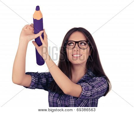 Girl with Glasses Holding Giant Purple Pencil
