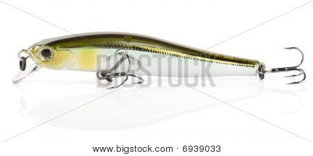 Plastic fishing lure (wobbler) isolated on white with soft shadow poster