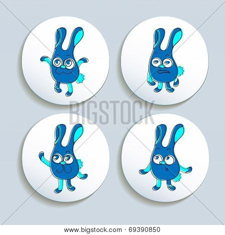 Set Of Badges With The Emotional Rabbits.