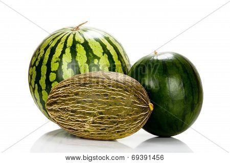 Three Different Varieties Of Melons