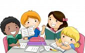 Illustration Featuring a Group of Kids Studying Together poster