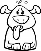 Black and White Cartoon Illustration of Funny Dog Breathing because of Heat for Coloring Book poster