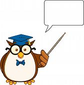 Wise Owl Teacher Cartoon Mascot Character With A Pointer And  Speech Bubble poster