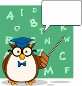 Wise Owl Teacher Cartoon Mascot Character With A Speech Bubble And Background poster