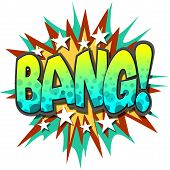 A Bang Comic Book Illustration Isolated on  White Background poster