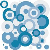 Vector blue tones circular background pattern bubbles poster