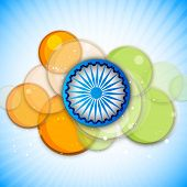 Blue Asoka Wheel and saffron and green colors circle on blue background for 15th of August, Indian Independence Day celebrations.  poster