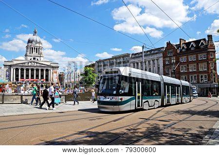 Nottingham city hall and tram.