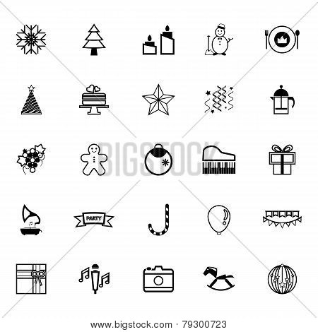 New Year And Christmas Line Icons On White Background