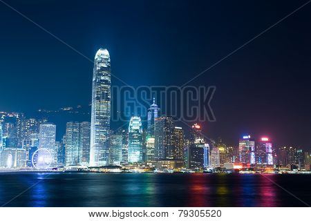 Nightview of Victoria Harbour in Hong Kong