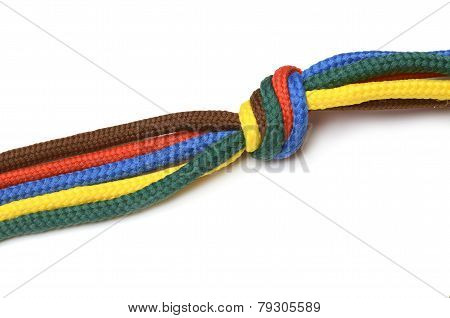 Shoelace Tied In A Bundle