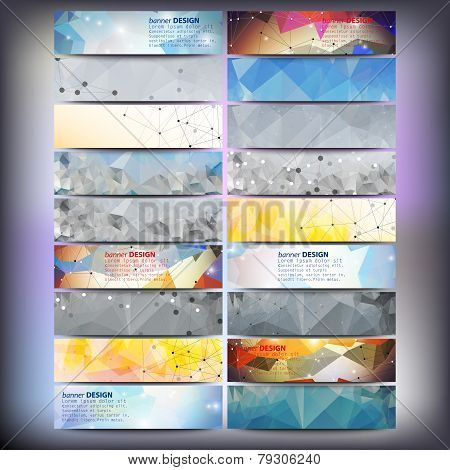 Big colored abstract banners set. Conceptual triangle design vector templates.