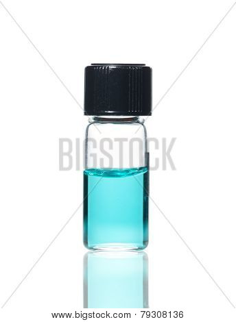 Vial with colored solution and reflection isolated on white background poster