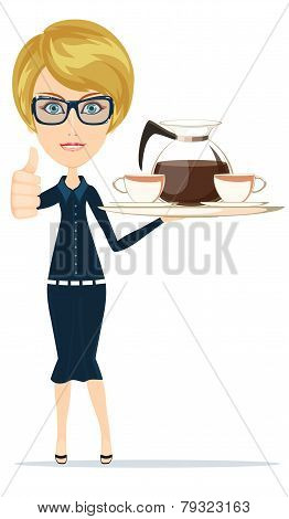 Beautiful Girl Waitress Carries giving the thumbs up with a big Tray Ordered Drinks, Coffee, Tea.