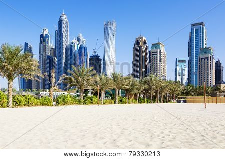 Horizontal View Of Skyscrapers And Jumeirah Beach