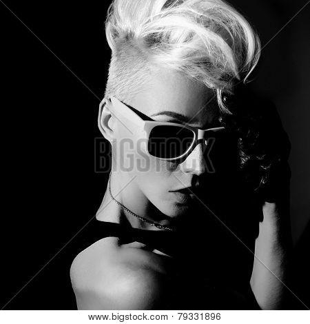 Glamorous Blonde Punk Fashion Style Black And White Photo
