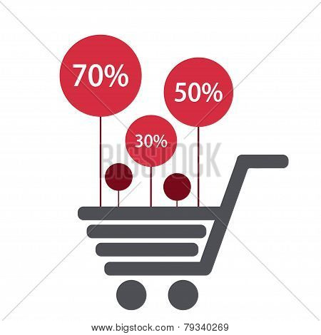 Vector modern shooping sale icons background.