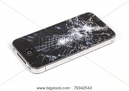Iphone 4 With Seriously Broken Retina Display Screen