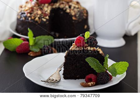 Chocolate banana cake with nuts